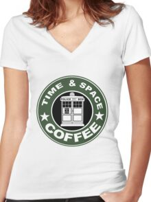COFFEE: TIME AND SPACE Women's Fitted V-Neck T-Shirt