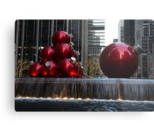 A Christmas Card from New York City - Manhattan Skyline Reflecting in Giant Red Balls Metal Print
