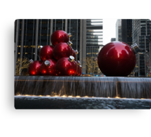 A Christmas Card from New York City - Manhattan Skyline Reflecting in Giant Red Balls Canvas Print