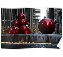 A Christmas Card from New York City - Manhattan Skyline Reflecting in Giant Red Balls Poster
