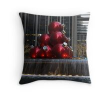 A Christmas Card from New York City - Manhattan Skyline Reflecting in Giant Red Balls Throw Pillow