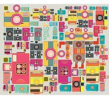 VIntage camera pattern wallpaper design Photographic Print