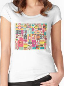 VIntage camera pattern wallpaper design Women's Fitted Scoop T-Shirt