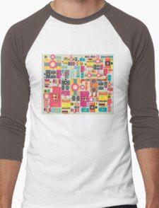 VIntage camera pattern wallpaper design Men's Baseball ¾ T-Shirt