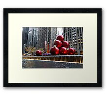 A Christmas Card from New York City – Radio City Music Hall and the Giant Red Balls Framed Print