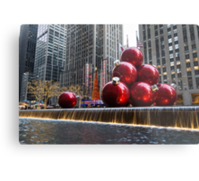 A Christmas Card from New York City – Radio City Music Hall and the Giant Red Balls Metal Print