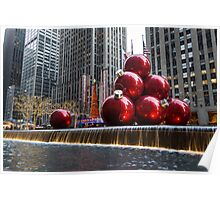 A Christmas Card from New York City – Radio City Music Hall and the Giant Red Balls Poster