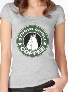 COFFEE: STUDIO GHIBLI Women's Fitted Scoop T-Shirt