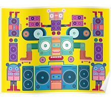 funny and cute vector boombox face pattern Poster