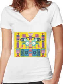 funny and cute vector boombox face pattern Women's Fitted V-Neck T-Shirt