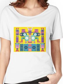 funny and cute vector boombox face pattern Women's Relaxed Fit T-Shirt