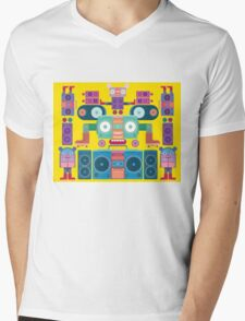 funny and cute vector boombox face pattern Mens V-Neck T-Shirt