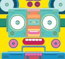funny and cute vector boombox face pattern Sticker