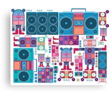 robot boom box tape music vector pattern Canvas Print