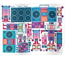 robot boom box tape music vector pattern Poster