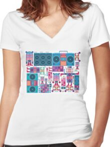 robot boom box tape music vector pattern Women's Fitted V-Neck T-Shirt