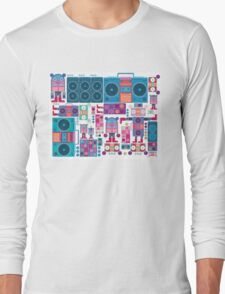 robot boom box tape music vector pattern Long Sleeve T-Shirt