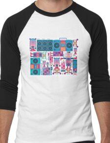 robot boom box tape music vector pattern Men's Baseball ¾ T-Shirt