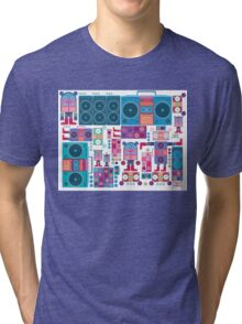 robot boom box tape music vector pattern Tri-blend T-Shirt