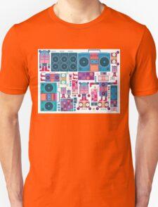 robot boom box tape music vector pattern Unisex T-Shirt