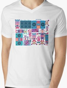 robot boom box tape music vector pattern Mens V-Neck T-Shirt