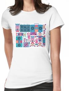 robot boom box tape music vector pattern Womens Fitted T-Shirt