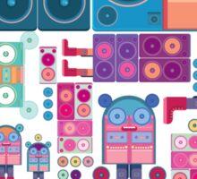 robot boom box tape music vector pattern Sticker