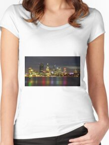 Lights on the river, Perth, WA Women's Fitted Scoop T-Shirt