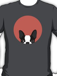 Boston Terrier Peek - Black on Coral T-Shirt