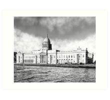 Custom House Quay In Dublin Ireland Art Print