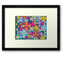 fun flower colorful pattern Framed Print