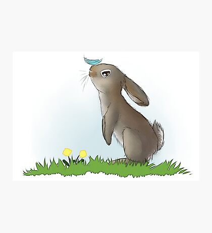 Cute Bunny Feather Boop Photographic Print