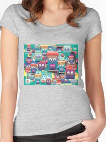 pattern face expression colorful Women's Fitted Scoop T-Shirt