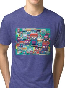 pattern face expression colorful Tri-blend T-Shirt