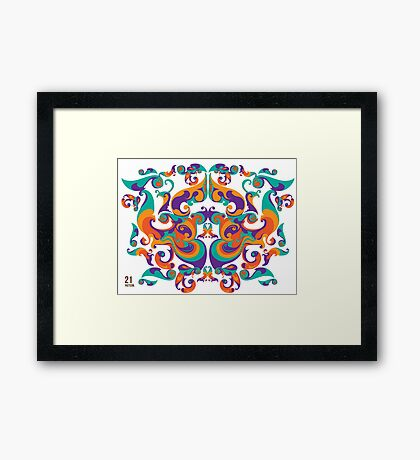 symmetrical vector colorful pattern Framed Print