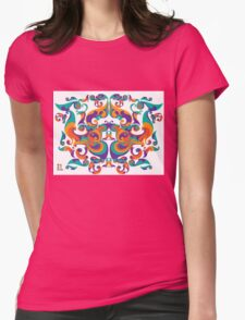 symmetrical vector colorful pattern Womens Fitted T-Shirt