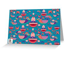 Cute colorful bird pattern vector Greeting Card