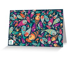 Beautiful collection of tropical fish pattern  Greeting Card