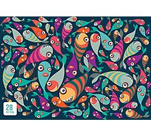 Beautiful collection of tropical fish pattern  Photographic Print