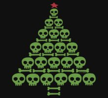 Green Skull and Bones Christmas Tree  by ArtVixen
