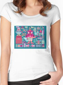Cute colorful cartoon band Women's Fitted Scoop T-Shirt