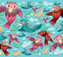 Colorful fun birds pattern  by singpentinkhepi