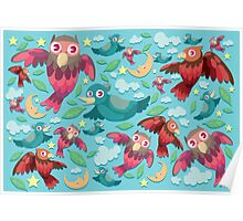 Colorful fun birds pattern  Poster