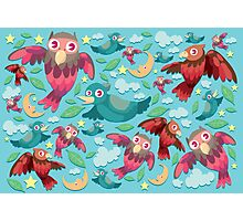 Colorful fun birds pattern  Photographic Print