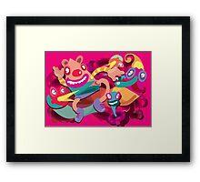 Cute clown colorful monster Framed Print