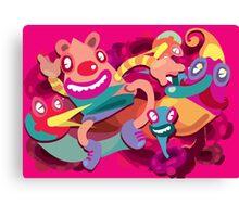 Cute clown colorful monster Canvas Print