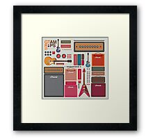 compilation guitar and amplifier Framed Print