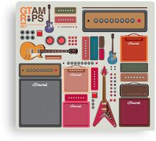 compilation guitar and amplifier Canvas Print