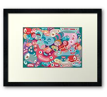 vector colorful random monster face pattern Framed Print