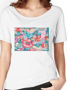 vector colorful random monster face pattern Women's Relaxed Fit T-Shirt
